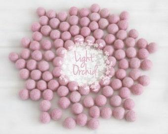 Wool Felt Balls - Size, Approx. 2CM - (18 - 20mm) - 25 Felt Balls Pack - Color Light Orchid-3024- Pom Poms - Light Orchid Wool Felt Balls