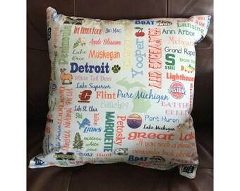 Michigan Highlights Pillow in Light Blue
