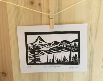 Linocut Print, Small, Mt Washington   5x7