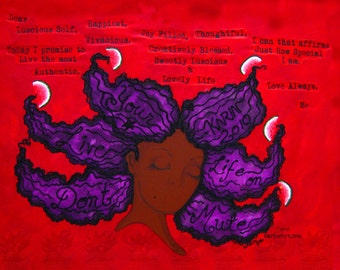 Prints:11x14 16x20 20x30 Dont Live Your Life On Mute Affirmation Natural Hair Afro by karin turner KarinsArt watermelon Purple home decor