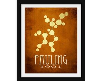 Chemistry Gift, Linus Pauling Science Art, Chemistry Teacher Gift, Atomic Decor, Molecule Art, Chemistry Poster, Geek Wall Art, Nerd Gift
