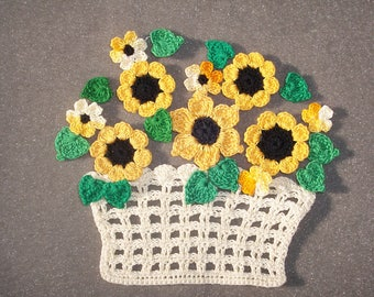 handmade crochet basket with goldenrod flowers and green leaves --  2695