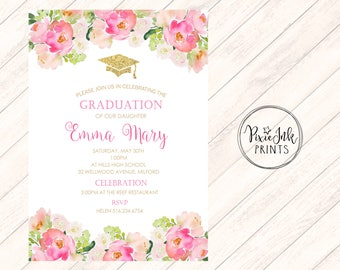 Graduation Party Invitation, Bright Floral Invitation, Class of 2017 Invite, Floral Graduation Invitation, Graduation Party Printable