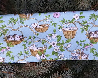 "Cat knitting needle case, paintbrush pouch, up to 14"" long knitting needle case, Cats in Baskets, The Stitch"