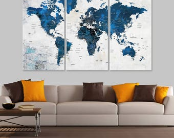 World map canvas etsy world map canvas push pin travel map navy blue world map home gift large wall decor adventure awaits housewarming gift adventure map gumiabroncs Choice Image