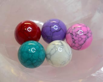 Mix of 5 AGATE gemstone beads, colorful - balls - 20mm - multicolored