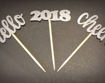Hello, Cheers, 2018 New Year's Cupcake Toppers or Appetizer Picks