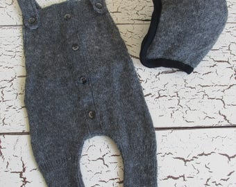 Charcoal Gray Overall Romper and bomber hat - handmade newborn photography prop