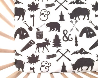 Crib Sheet The Woodcutter. Fitted Crib Sheet. Baby Bedding. Crib Bedding. Crib Sheets. Bear Crib Sheet.
