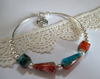 Turquoise/Orange, Pink/Black Beaded Silver Bracelet - one item