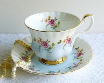 Vintage Royal Albert #4360 Floral Footed Teacup & Saucer, English Bone China, Blue Floral Bone China, Pastel Teaset, Vintage Gift, Tea Ware