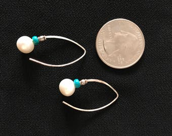 Pearl and Turquoise Dangle Earrings
