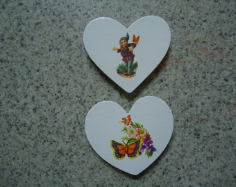Set of 2 Gnome and Butterfly with Flowers on White Wood Heart Magnets - Home Interior - Kitchen Decor