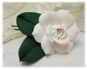 Realistic Gardenia Leaf Hair Clip Pin - Gardenia Leaf Hair Flower