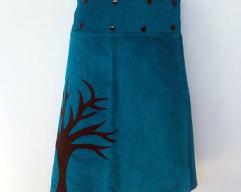 Teal blue wrap around skirt - Ladies size 8 - 14 - corduroy, tree, woodlands