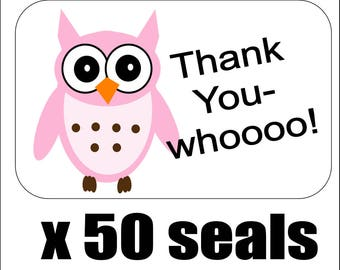 """50 Pink Owl Thank You Envelope Seals / Labels / Stickers, 1"""" by 1.5"""""""