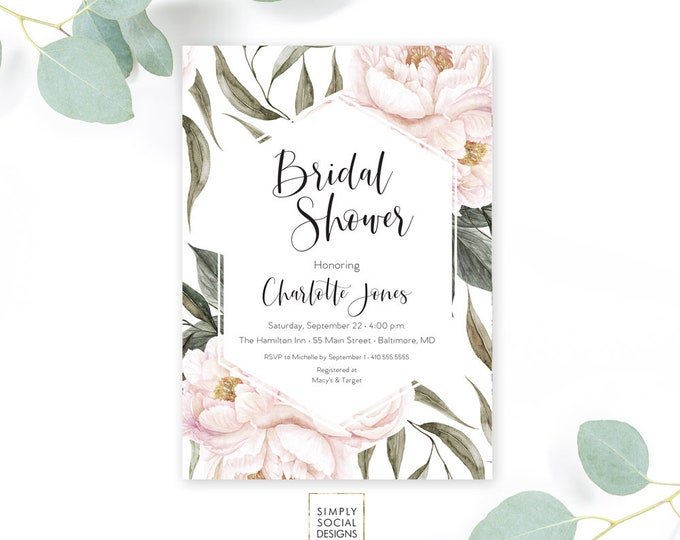 Pink Floral Greenery Bridal Shower Invitation - Geometric Invitate - Garden Shower - Peony Roses Blush Invitation Watercolor Printable