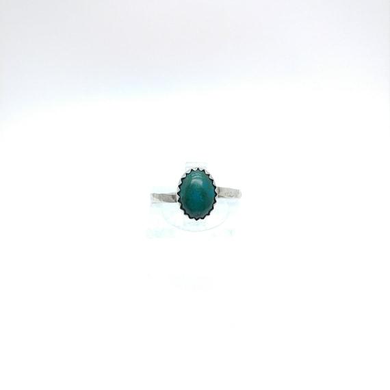 Simple Blue Ring | Aqua Blue Stone Ring | Sterling Silver Ring Sz 7.25 | Blue Green Stone Ring | Chrysocolla Ring | Mermaid Ring
