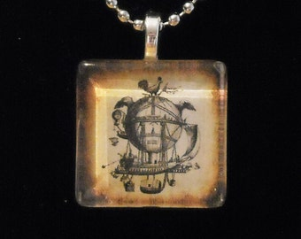 Wild Steampunk Sepia Winged Balloon Glass Tile Necklace