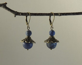 Pearl Earrings in frosted blue sodalite and bronze metal cap