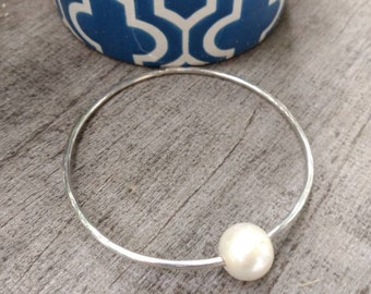 "Freshwater Pearl Sterling Silver 8"" Bangle - Ready to Ship"