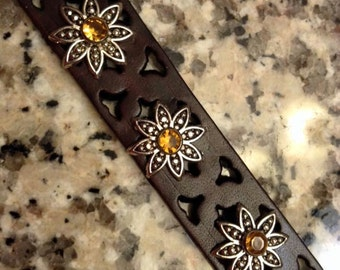 Leather Punched Bracelet; Leather Wristband; Leather Cuff; Leather Flower Cuff - On Sale - Clearance