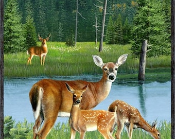 Deer Family, Fawn and Doe, Wildlife Fabric - Oh Deer by Kevin Daniel for Wilmington Fabric - 30160 742 - Priced by the 24-Inch Panel