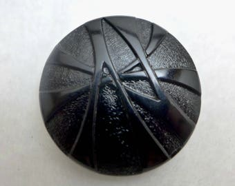 Large Czech glass button - black - 30mm