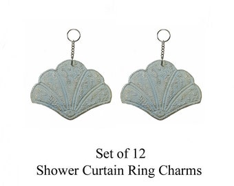 Decorative Shower Curtain Ring Charms...Embossed Geisha Fans