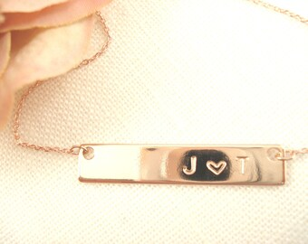 Hand Stamped Rose Gold Bar Necklace...Personalized Name plate bar jewelry, Sorority gift, monogram, bridesmaid gift