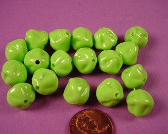 Vintage Lime Green Folded Plastic Beads