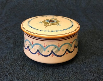 Vintage Bonfrate Grottaglie Signed Powder Box with Blue Flowers, Grottaglie Italian Ceramics