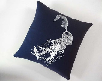 Jellyfish in Armor silk screened cotton throw pillow 18x18 navy white
