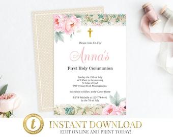 Vintage First Communion Invitation, Baptism Invitation, Communion Invitation, Christening Invite, Holy Communion, Christening Baptism Invite
