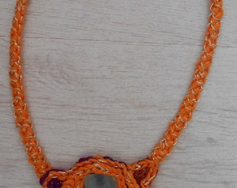 Freeform crochet necklace with seaglass