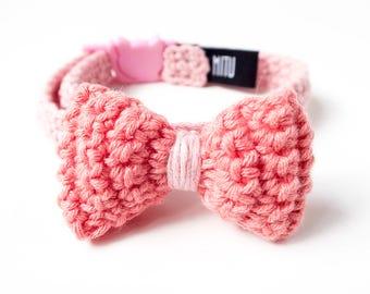 Cat collar, pink cat collar with bow, bow cat collar, breakaway cat safety collar, soft kitten collar, quick release cat collar