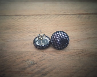 Black Earrings. Metallic Fabric Earrings. Handmade Earrings. Fabric Covered Button Earrings. Stud Earrings. Clip On Earrings.