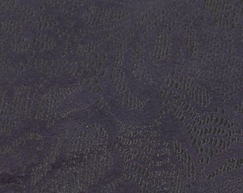 Coupon of cowhide leather purple flowers