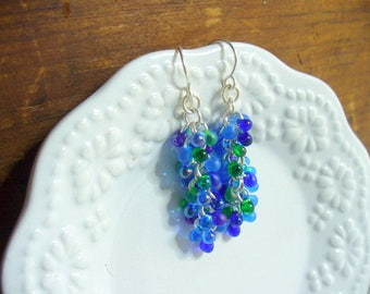 Shaggy Beaded Dangle Earrings, Blue, Green Beaded Earrings, Silver Earring, Long Dangle Earring, Chainmail Earring, Cluster Earrings