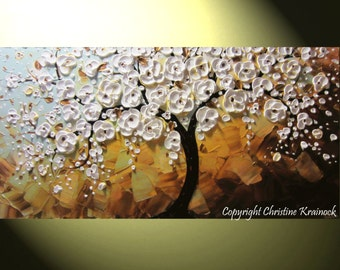 CUSTOM Art Abstract Painting White Cherry Tree Painting Blossoms Flowers Textured Palette Knife Blue Brown MADE to ORDER Sizes -Christine