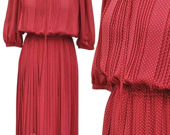 Vintage 1940s Style 70s Polka Dot Pleated Chiffon Dress