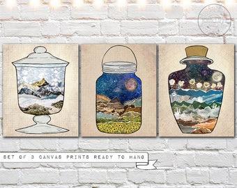 canvas print set of three - mason jar wall art - mixed media canvas prints - 3 print set - ready to hang canvas wall art