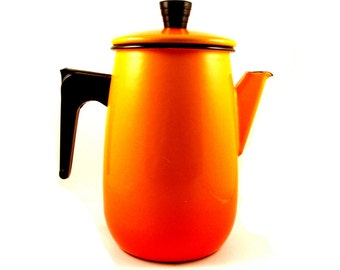 Aubeco Français Enamelware Pot à café - Orange dégradé - Pot à café rétro - Made in France - Français Enamelware