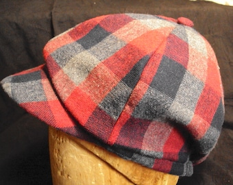Newsies cap, Newsboy hat, Duckbill cap, Gatsby, Applejack--block plaid cap
