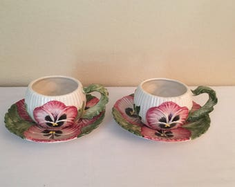 """Fitz and Floyd """"April Flowers"""" Pair of Pink Pansy Cup and Saucer Sets"""