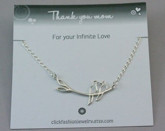Love birds necklace, silver bird necklace, 2 birds necklace, sterling silver necklace, bird jewelry, mother necklace, mothers day gift
