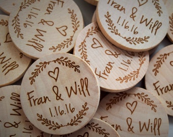Rustic Wedding Favor, Wood Save the Date Magnet, Nature Theme Wedding Favors, Custom Wood Magnets, Engraved Wood Magnet, Simple Tree Favor