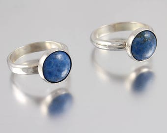 Sterling Silver Ring with a Bezel Set Lapis Lazuli Cabochon Set Stone - Size 6.25 or Size 7.5