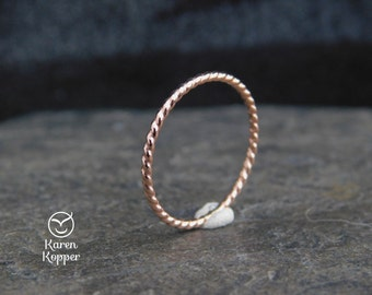 Minimalist twisted ring, Made from 14k rose gold filled wire, made at your size. Skinny ring, thin ring, stacking ring.