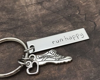 Run happy keychain, running keychain, running gifts, gift for her, running shoe charm, run Motto, motivation, Marathon gift, fitness gift